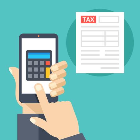 impuestos: Mano que sostiene teléfono inteligente con la calculadora en la pantalla y la forma de impuestos. calculadora de impuestos aplicación móvil. Diseño plano ilustración vectorial