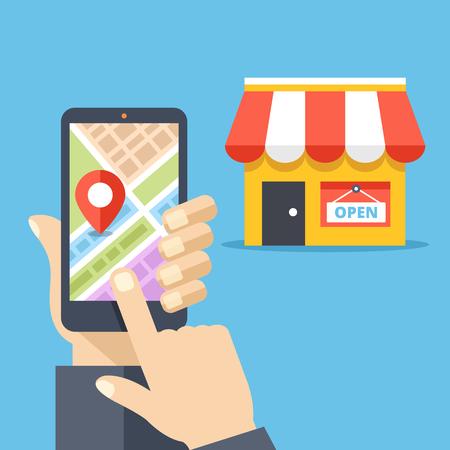 Hand met smartphone met plattegrond van de stad en winkellocatie op scherm en winkel pictogram. Mobiele navigatie, gps-navigator, routeconcepten. Moderne platte ontwerp vectorillustratie