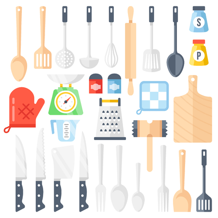 cooking utensils: Kitchen tools, cooking equipment, kitchen utensils set. Colorful flat icons set. Vector illustration