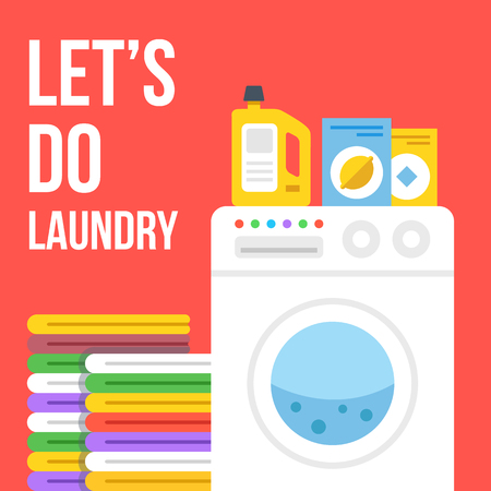 detersivi: Lavanderia illustrazione piatta. Lavatrice, vestiti, detersivi per bucato, polvere di lavaggio, icone ammorbidente impostate. illustrazione di vettore