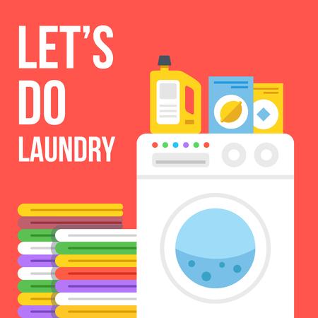 Laundry flat illustration. Washing machine, clothes, laundry detergent, wash powder, fabric softener icons set. Vector illustration