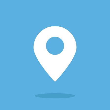 Location icon, map pin. Flat vector icon. White icon