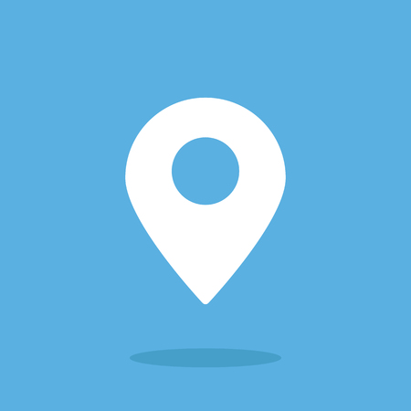 Location icon, map pin. Flat vector icon. White icon