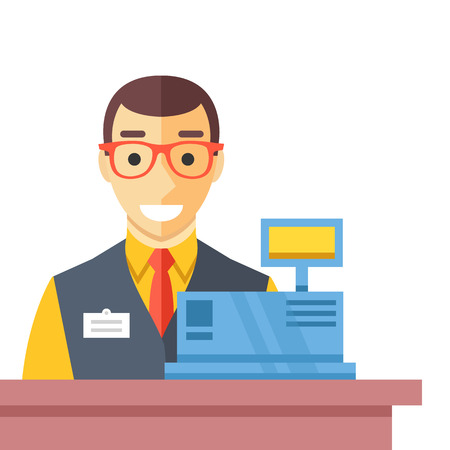 Cashier man at checkout counter. Counter desk, cash register and happy clerk. Flat vector illustration
