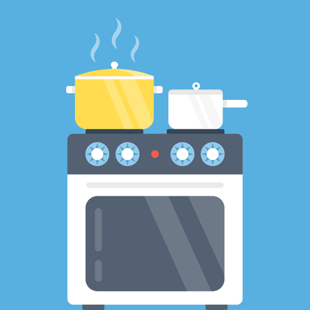 cooktop: Electric oven and saucepans. Kitchen appliances, kitchen interior, utensils concepts. Modern flat design vector illustration