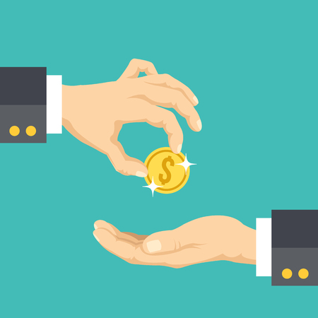 Hand giving gold coin to another hand flat illustration. Creative vector illustration  イラスト・ベクター素材