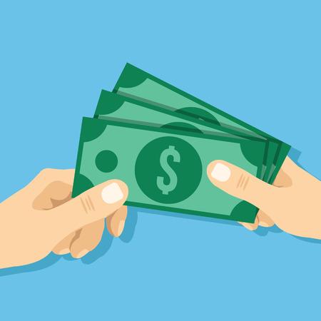 別の平面イラストを手に現金を与える手。創造的なベクトル図