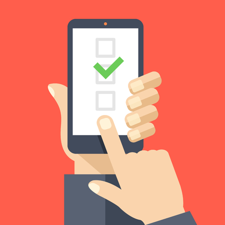smartphone in hand: Checkboxes on smartphone screen. Hand hold smartphone, finger touch screen. Checkboxes and checkmark. Creative flat design vector illustration
