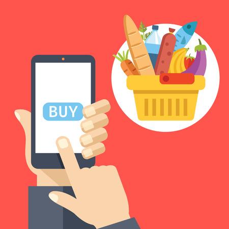 Purchase food using mobile app. Buy food online concept. Creative flat design vector illustration