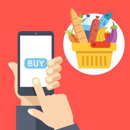 Purchase food using mobile app. Buy food online concept. Creative flat design vector illustration