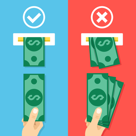 in insert: How to insert cash in atm machine. Right and wrong ways to insert cash. Creative flat design vector illustration