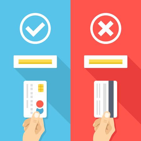 Comment insérer la carte de crédit dans la machine atm. façons bien et le mal à insérer les cartes de crédit. Creative design plat illustration vectorielle Vecteurs