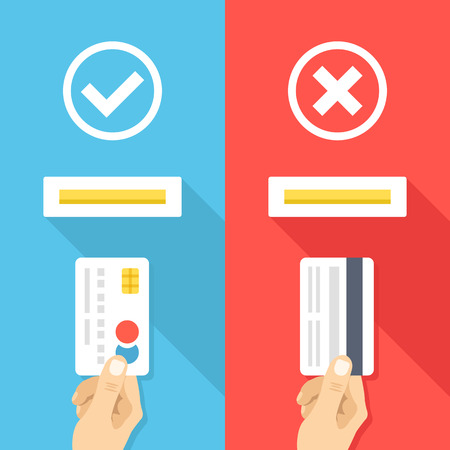in insert: How to insert credit card in atm machine. Right and wrong ways to insert credit cards. Creative flat design vector illustration