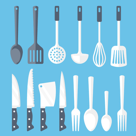 masher: Kitchen tools flat icons set. Vector illustration