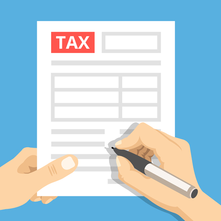 hand pen: Man hands filling tax form. Hand hold tax form and hand hold pen. Creative flat design vector illustration Illustration