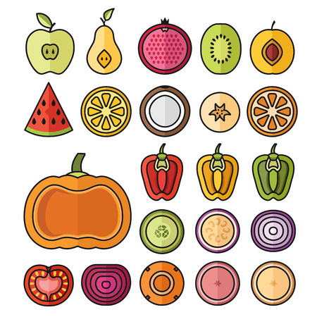 sliced fruit: Vector fruit icons set. Trendy thin line sliced ??fruits collection. Vector illustration