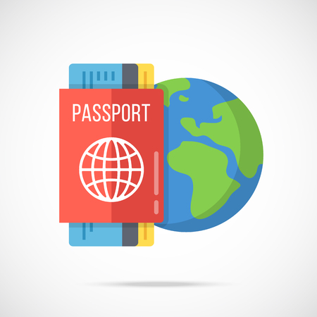 ides: Vector passport, boarding pass and planet Earth icon. Traveling abroad, vacation, visa, citizenship concepts. Flat design vector illustration