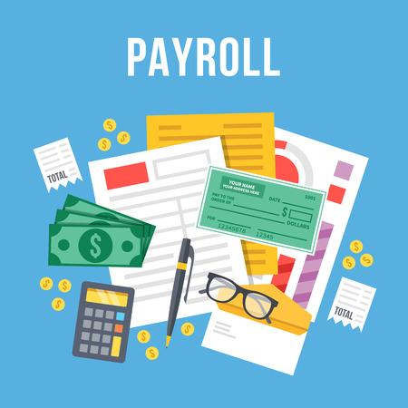 Abrechnung, Rechnung Blatt flach Illustration. Payroll-Vorlage, berechnen Gehalt, Budgetkonzepte. Draufsicht. Moderne Flach Design Vektor-Illustration Vektorgrafik