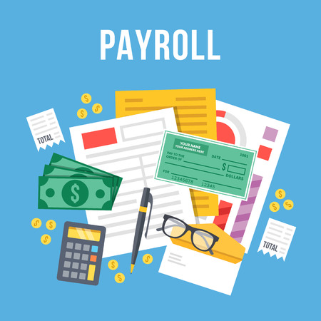 calculate: Payroll, invoice sheet flat illustration. Payroll template, calculate salary, budget concepts. Top view. Modern flat design vector illustration
