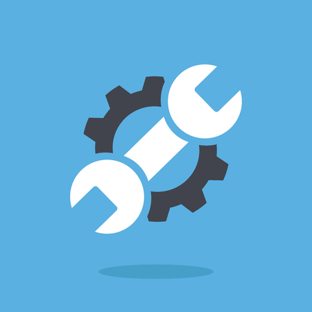 Vector repair icon. Blue wrench and black gear. Creative graphic design logo element vector illustration