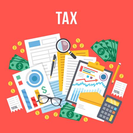 Steuerberechnung, Budgetkalkulation, Buchhaltung, Papierkram Konzept. Draufsicht. Moderne Flach Design Vektor-Illustration