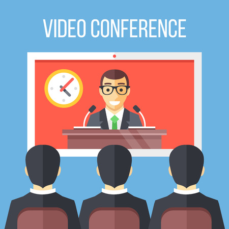 Video conference flat illustration. Businessmen sitting on chair, boss speaking from digital flat screen. Vector illustration  イラスト・ベクター素材