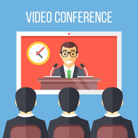 teleconference: Video conference flat illustration. Businessmen sitting on chair, boss speaking from digital flat screen. Vector illustration Illustration