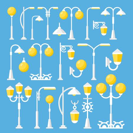 outdoor lights: Vector street lanterns set. Vintage and modern street light, outdoor post lights, city elements collection. Flat design vector illustration