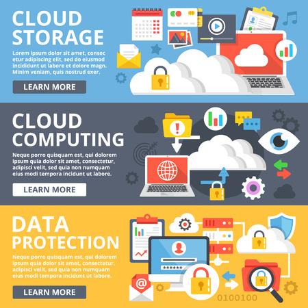Cloud storage, cloud computing, de bescherming van gegevens platte ontwerp illustratie set. Moderne vector illustratie