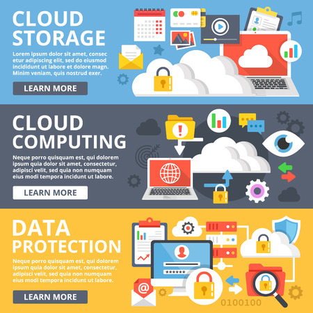 Cloud storage, cloud computing, data protection flat design illustration set. Modern vector illustration Vettoriali