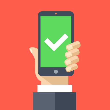 purchase icon: White checkmark on green smartphone screen. Flat design vector illustration