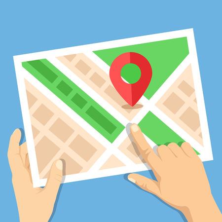 travel destination: Hands holding city map with map marker flat illustration. Location map, gps navigation, direction, positioning, travel destination concepts