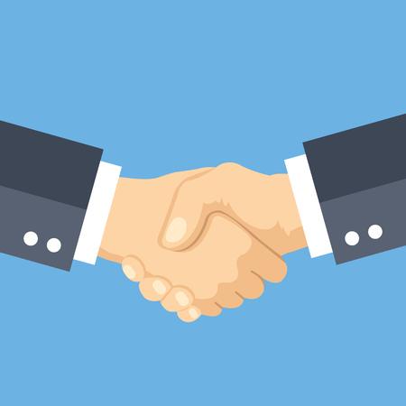 Dar la mano concepto de diseño plano. Apretón de manos, un acuerdo de negocios, apuesta, los conceptos de asociación. ilustración vectorial Ilustración de vector