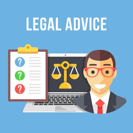 Conseils juridiques. Avocat, ordinateur portable avec l'icône à l'échelle de l'or, presse-papiers avec des questions des clients. Creative design plat illustration vectorielle