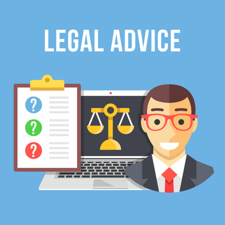 Legal advice. Lawyer, laptop with gold scale icon, clipboard with client questions. Creative flat design vector illustration Stock Illustratie