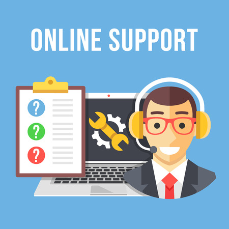laptop repair: Technical support. Technical support manager, laptop and repair icon, clipboard and customer questions. Flat design vector illustration Illustration