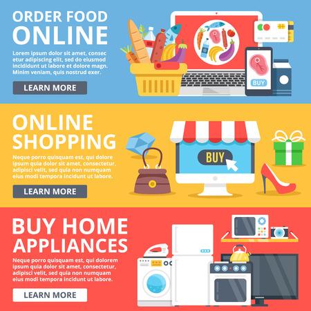 home shopping: Order food online, online shopping, buy home appliances flat illustration set. Modern vector illustration