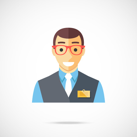 a bank employee: Sales assistant icon. Clerk, cashier, store worker, bank employee, manager, shop consultant concepts. Flat design vector illustration