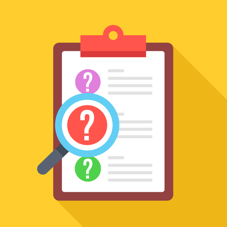 Clipboard with question marks and magnifying glass. Survey, quiz, investigation, customer support questions concepts. Flat design icon Illustration