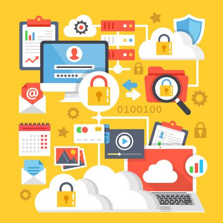 encryption: Cloud computing, data storage, internet technology data encryption creative concepts and icons set. Flat design illustration