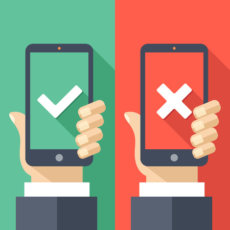 decline: Hands holding smartphones with checkmarks set. White tick and cross check marks on green and red smartphones screens. Creative long shadow flat design. illustration