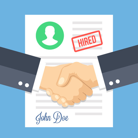 business agreement: Job application with hired stamp and handshake. Employment issues, recruiting, partnership, human resources, contract, agreement, job application approved concepts. Flat design illustration