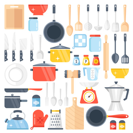 design tools: kitchen tools set. Kitchenware collection. Lots of kitchen tools, utensils, cutlery. Modern flat design illustration