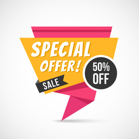 50 off: Special offer origami . Big sale, super discount, exclusive price, 50% off concepts. Paper . illustration