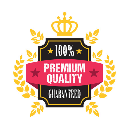 sale sticker: Premium quality guaranteed sale banner. Vintage design discount badge. Vector illustration