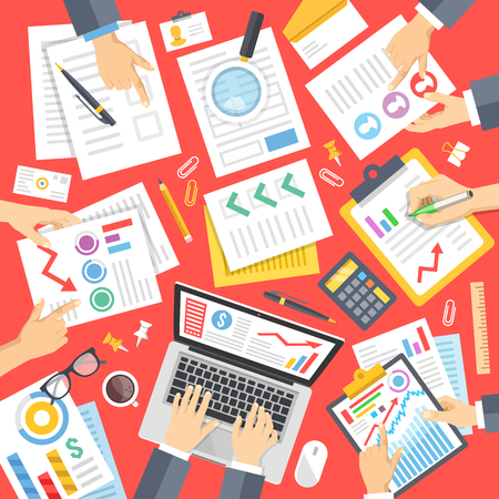 business work: Business people at work in office. Documents, stationery, hands. Teamwork concept. Top view. Modern flat design vector illustration