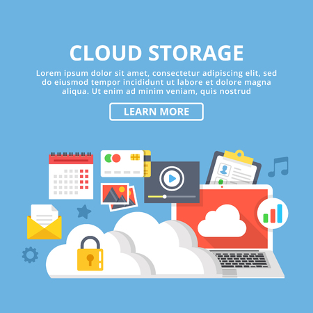 Cloud storage web banner. Cloud technology, data storage, cloud computing icons set. Creative flat design vector illustration Illustration
