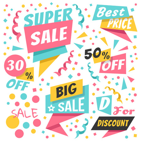 paper graphic: Colorful holiday sale paper banners, origami badges set, premium discount labels set. Trendy flat design graphic elements. Vector illustration