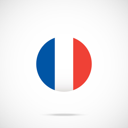 flag french icon: France flag round icon. France flag icon with accurate official color scheme. French flag in circle. Vector icon