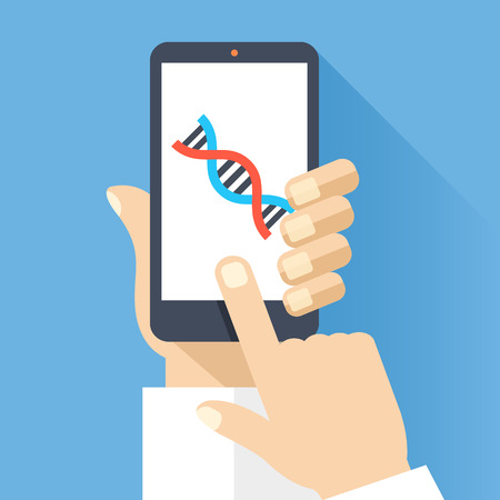 cellphone in hand: Hand holds smartphone with DNA icon on smartphone screen. Scientific research, medical research concepts. Flat design vector illustration Illustration